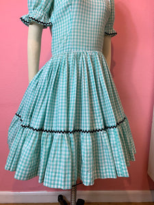 Vintage 1950s Dress • Teal Gingham Ric Rac Western Swing Dress • Dorothy Gale Wizard of Oz • Medium