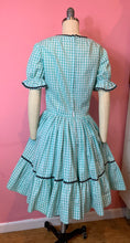 Load image into Gallery viewer, Vintage 1950s Dress • Teal Gingham Ric Rac Western Swing Dress • Dorothy Gale Wizard of Oz • Medium