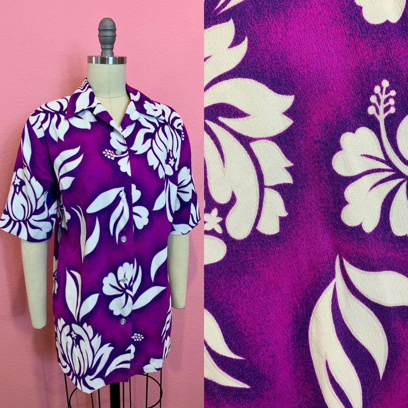 Vintage 1960s Shirt • Ladies Tiki Barkcloth Pink & Purple Button Up • Large