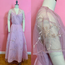 Load image into Gallery viewer, Vintage 1950s/1960s Dress • Etherial Pink Embroidered Tulle Cocktail Dress • Extra Large