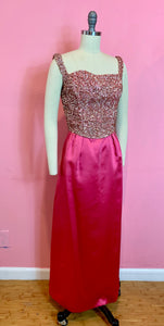 Vintage Early 1960s Dress • Designer Emma Domb Hot Pink Satin & Sequin Glamour Gown • Medium