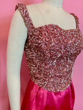 Load image into Gallery viewer, Vintage Early 1960s Dress • Designer Emma Domb Hot Pink Satin & Sequin Glamour Gown • Medium