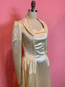Vintage 1950s Wedding Gown • Classic Ivory Liquid Satin and Lace Dress with Huge Train • Extra Small to Small
