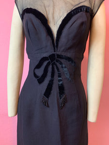 Vintage 1950s 1960s Dress • Designer Lilli Diamond Little Black Dress with Plunging Neckline • Medium