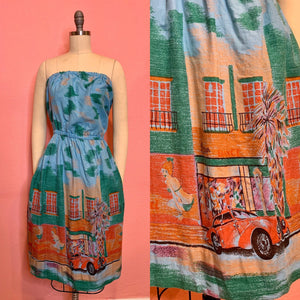 Vintage 1980s Dress • 1940s Street Scene Border Novelty Print Dress • Medium