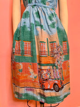Load image into Gallery viewer, Vintage 1980s Dress • 1940s Street Scene Border Novelty Print Dress • Medium