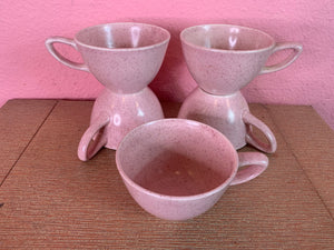 Vintage 1950s Cups • MCM Monterrey Pink Speckled Tea & Coffee Cups • Set of 5