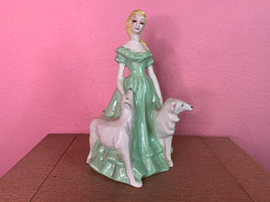 Vintage 1940s Figurine • Brayton Laguna Ceramic Statuette with Blonde Lady & Two Dogs