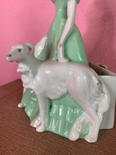 Load image into Gallery viewer, Vintage 1940s Figurine • Brayton Laguna Ceramic Statuette with Blonde Lady & Two Dogs