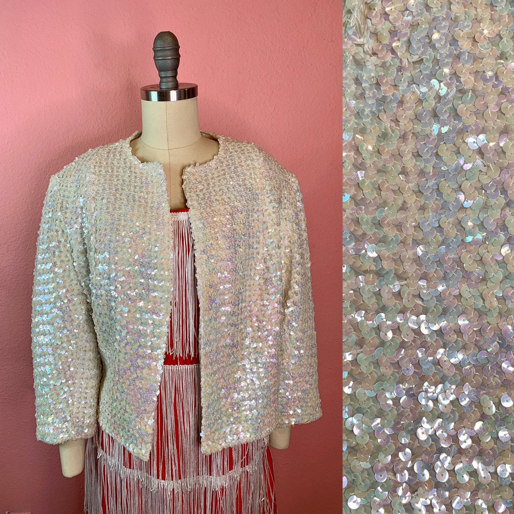 Vintage 1960s Jacket • Fully Sequined Ivory Jacket with Mermaid Rainbow Iridescent Sequins • Large to Extra Large