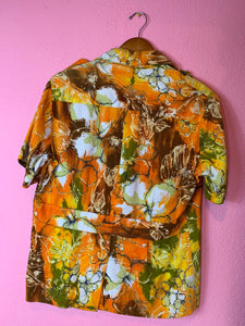 Vintage 1960s Shirt • Back Belt Barkcloth Hawaiian Shirt • Small