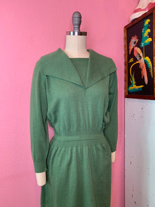 Vintage 1950s Dress • Green Knit Sweater Secretary Wiggle Dress • Small to Large