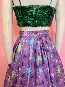 Vintage 1950s Skirt • Purple Starburst Pleated Circle Skirt • Extra Small