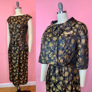 Vintage 1960s Dress & Jacket Set • Black Gold Rose Brocade Wiggle Dress and Crop Jacket Matching Set • Small