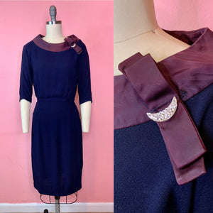Vintage 1950s Dress • Royal Blue Crepe Wiggle Dress with Crescent Moon Neckline • Small