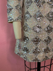 Vintage 1960s Dress • Silver & White Fully Sequined Harlequin Mini Dress • Medium / Large