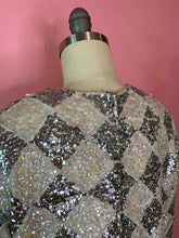 Load image into Gallery viewer, Vintage 1960s Dress • Silver & White Fully Sequined Harlequin Mini Dress • Medium / Large