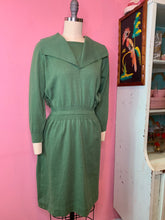 Load image into Gallery viewer, Vintage 1950s Dress • Green Knit Sweater Secretary Wiggle Dress • Small to Large