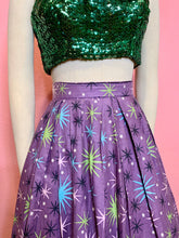 Load image into Gallery viewer, Vintage 1950s Skirt • Purple Starburst Pleated Circle Skirt • Extra Small