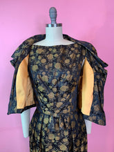 Load image into Gallery viewer, Vintage 1960s Dress & Jacket Set • Black Gold Rose Brocade Wiggle Dress and Crop Jacket Matching Set • Small