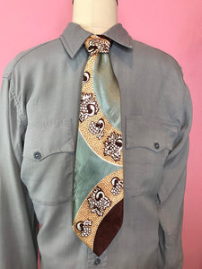 "Vintage 1940s Tie • Silk Art Deco Brown Silver Yellow Necktie • 53"" Long"