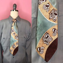 "Load image into Gallery viewer, Vintage 1940s Tie • Silk Art Deco Brown Silver Yellow Necktie • 53"" Long"