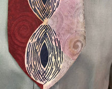 "Load image into Gallery viewer, Art Deco 1940s Tie • Silk Red, Pink, Navy Blure and White Eye Pattern Necktie • 51"" Long"