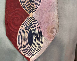 "Art Deco 1940s Tie • Silk Red, Pink, Navy Blure and White Eye Pattern Necktie • 51"" Long"