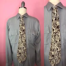"Load image into Gallery viewer, Vintage 1940s Tie • Art Deco Paisley Design Brown and White Rayon • 51"" Long"