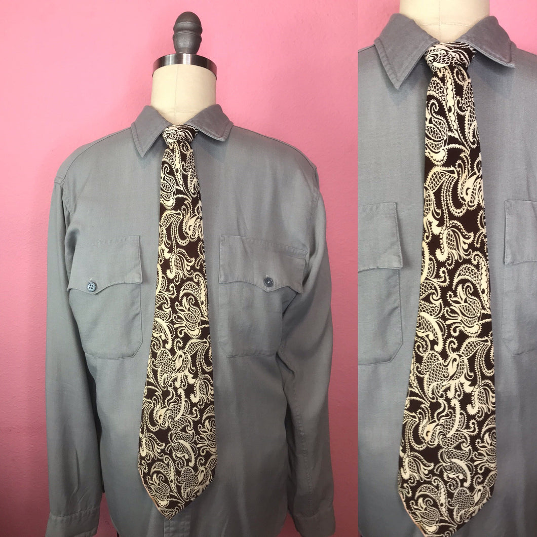 "Vintage 1940s Tie • Art Deco Paisley Design Brown and White Rayon • 51"" Long"