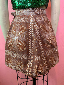 Vintage 1940s Shorts • Brown Tiki Hawaiian Tropical Print Shorts • Extra Small