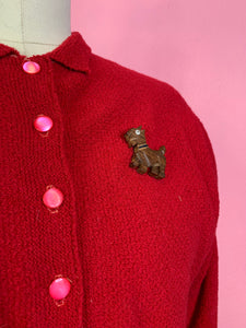 Vintage 1930s Cardigan • Cherry Red Batwing Sleeve Knit Sweater • Small to Large