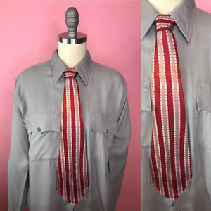 "Vintage 1940s Tie • Art Deco Vertically Striped Silk Necktie in Red, Bronze, and White • 54"" Long"