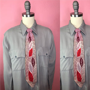 "Vintage 1940s Tie • Art Deco Necktie Brown, Red, and Grey Leave Pattern • 51"" Long"