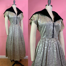Load image into Gallery viewer, Vintage 1950s Dress • Silver New Look Cocktail Dress with Oversized Velvet Collar • Small