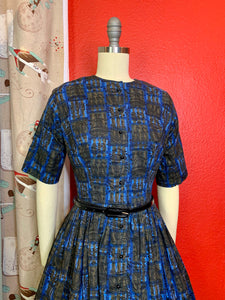 Vintage 1950s/1960s Dress • American Revolutionary War Novelty Print Day Dress • Extra Small