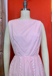 Vintage 1960s Dress • Pink Gingham Cotton Day Dress by Lanz • Small