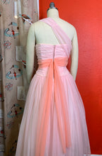 Load image into Gallery viewer, Vintage 1950s Dress • Emma Domb Designer Chiffon Sculpted Asymmetrical Strap Gown • Small