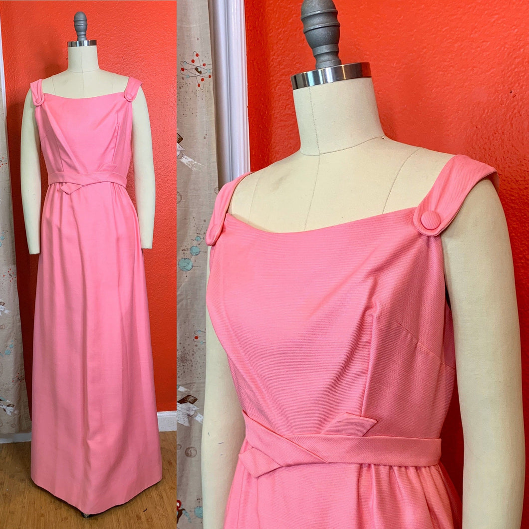 Vintage 1960s - 1970s Dress • Emma Domb Designer Pink Maxi Gown • Medium