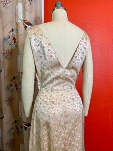 Vintage 1960s Dress • Peach Champagne Rose Brocade Wiggle Gown with V Cut Back • Small