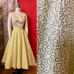 Vintage 1950s Skirt • Yellow & Metallic Gold Seersucker Full Circle Skirt • Extra Small