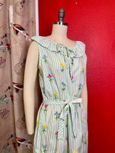 Load image into Gallery viewer, Vintage 1970s Dress • Green Cotton Candy Striped & Flower Embroidery Dress • Medium / Large