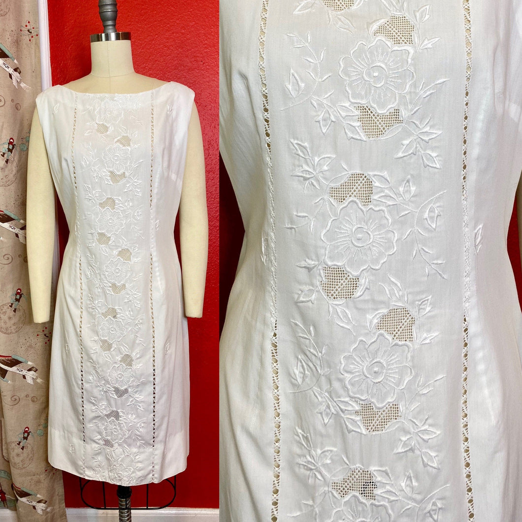 Vintage 1960s Dress • White Cotton Edwardian Lace Inspired Day Dress • Large