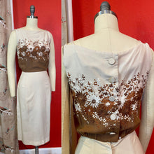 Load image into Gallery viewer, Vintage 1950s Dress • Brown and Cream Floral Embroidery Wiggle Dress • Extra Small