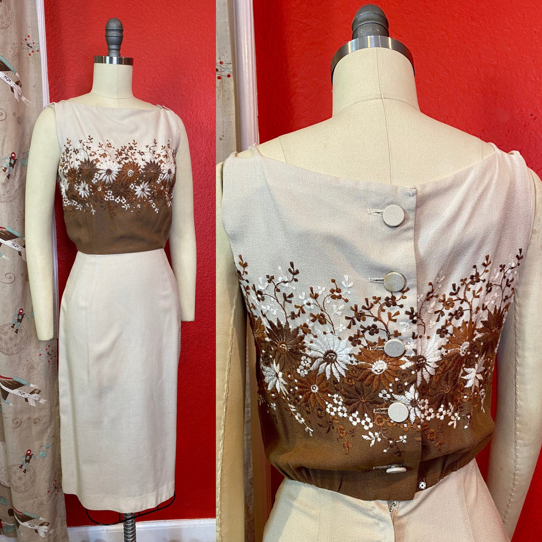 Vintage 1950s Dress • Brown and Cream Floral Embroidery Wiggle Dress • Extra Small