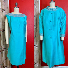 Load image into Gallery viewer, Vintage 1960s Set • Tiffany Blue Jackie O Style Beaded Dress & Swing Coat Matching Set • Extra Large