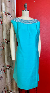 Vintage 1960s Set • Tiffany Blue Jackie O Style Beaded Dress & Swing Coat Matching Set • Extra Large