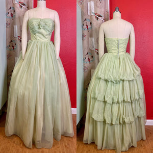 Vintage 1950s Dress • Strapless Light Green Chiffon Princess Gown • Extra Small