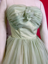 Load image into Gallery viewer, Vintage 1950s Dress • Strapless Light Green Chiffon Princess Gown • Extra Small
