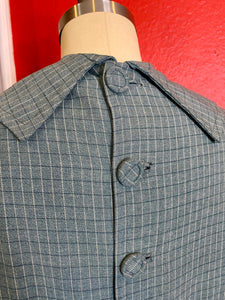 Vintage 1940s Dress • Slate Blue Plaid Gabardine Dress & Belt • Medium / Large
